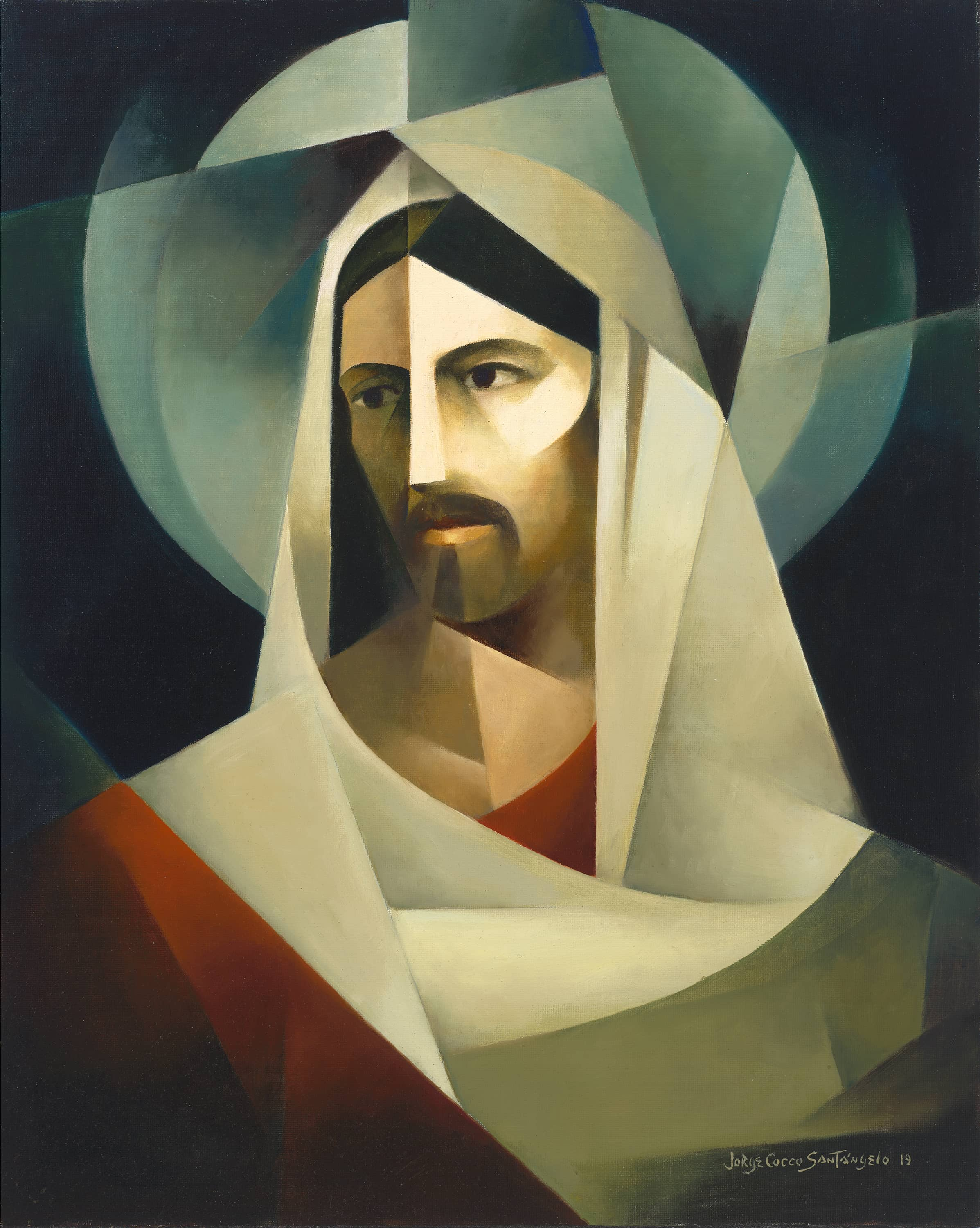 A painting of Jesus Christ done in the sacrocubism style of Jorge Cocco Santangelo.