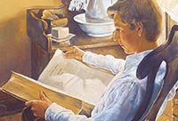 Joseph Smith reading his family copy of The Bible