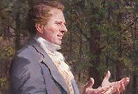 Painting of Joseph Smith giving a sermon