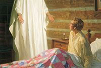 The Angel Moroni appearing before a young Joseph Smith