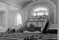 Photo of the chapel inside the Kirtland Temple