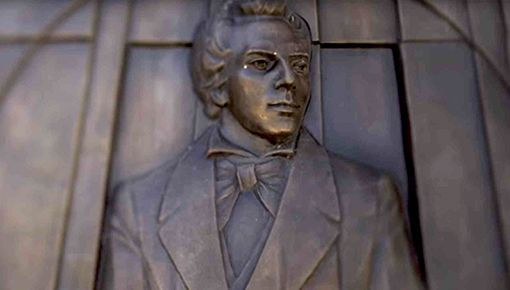 Mural of Joseph Smith made of bronze
