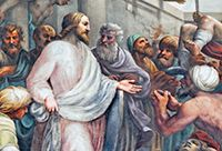 Painting of Jesus Surrounded By Many People Showing His Hands