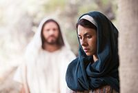 Jesus Christ approaching Mary Magdalene, who does not yet know He has risen from the grave.