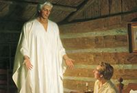 The Angel Moroni appearing before a young Joseph Smith.