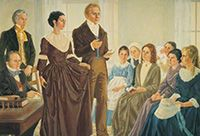 Painting of Joseph and Emma Smith at the organization of the Relief Society.