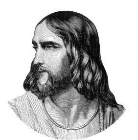 Engraving of the profile of Jesus Christ