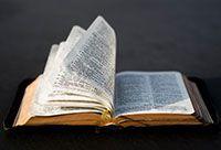 An open Book of Mormon.