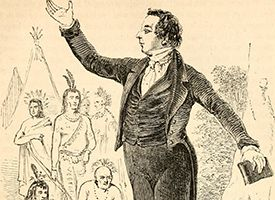 Sketch of Joseph Smith preaching to a group of Native Americans.