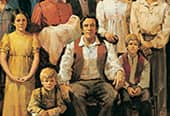 A painting depicting Joseph Smith surrounded by his family.