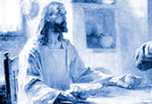 Christ sitting at a table, breaking bread.