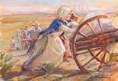 Pioneer women push a handcart.