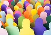Cutouts of a colorful crowd