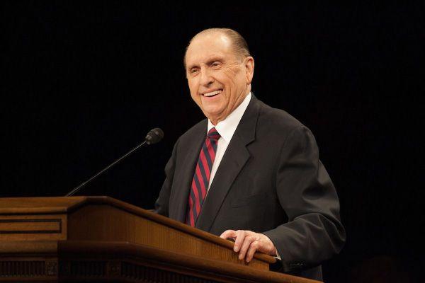 President Thomas S. Monson speaking at a BYU devotional