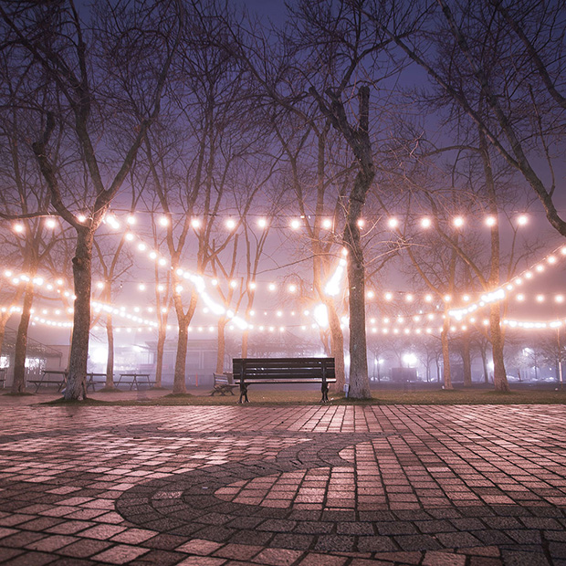 Photo of a park and a park bench at night with romantic bistro lights strung up.