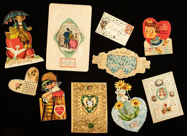An assorted collection of antique valentines