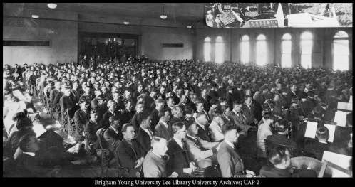 1920s era BYU devotional assembly held in College Hall