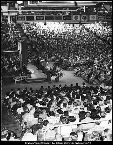 1950-1960s era BYU devotional assembly held in the Smith Fieldhouse.
