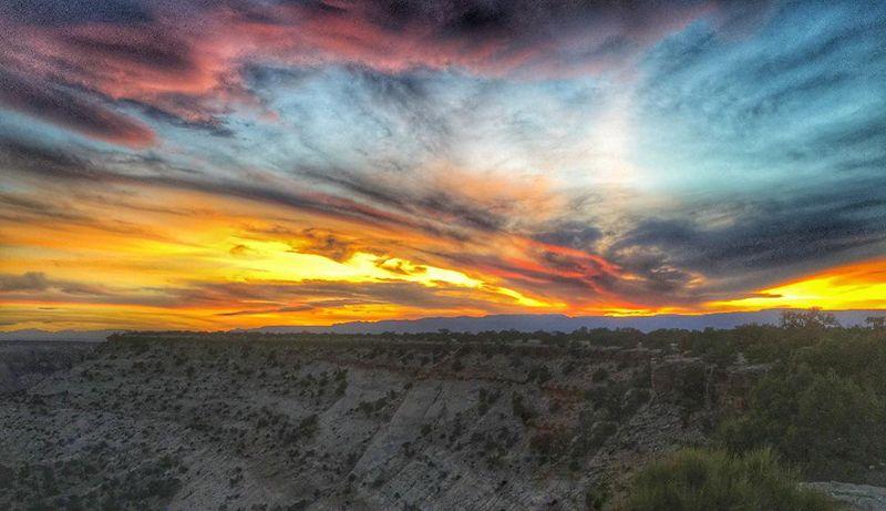 Sunset over a desert plateau