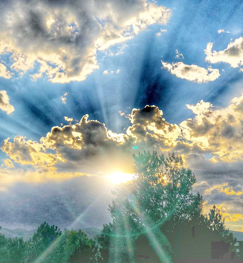 Sun rays shining through clouds and trees