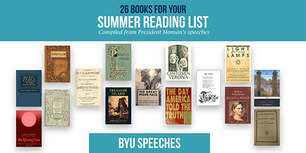Image of a summer reading list inspired by President Thomas S. Monson