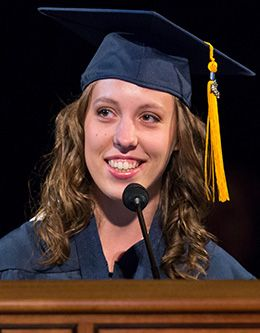 Rachel Thayer, student representative of the August 2013 graduating class