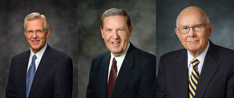 Portraits of D. Todd Christofferson, Jeffrey R. Holland, and Dallin H. Oaks