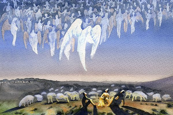 Watercolor painting of the shepherds in Bethlehem seeing a multitude of angels